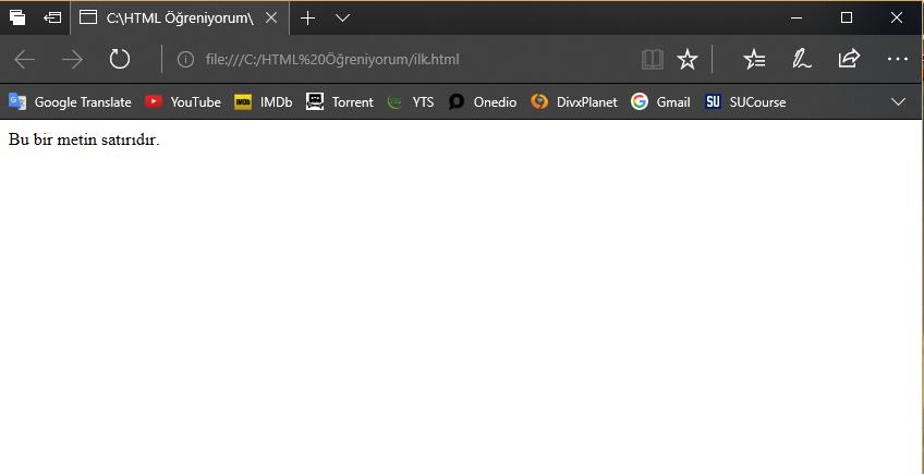 ilk HTML görüntümüz