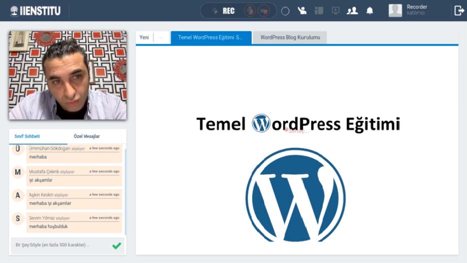 İstanbul İşletme Esntitüsü WordPress Eğitimi Derslerinden Ekran Görüntüsü
